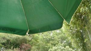 テニス中に風で揺れるパラソル